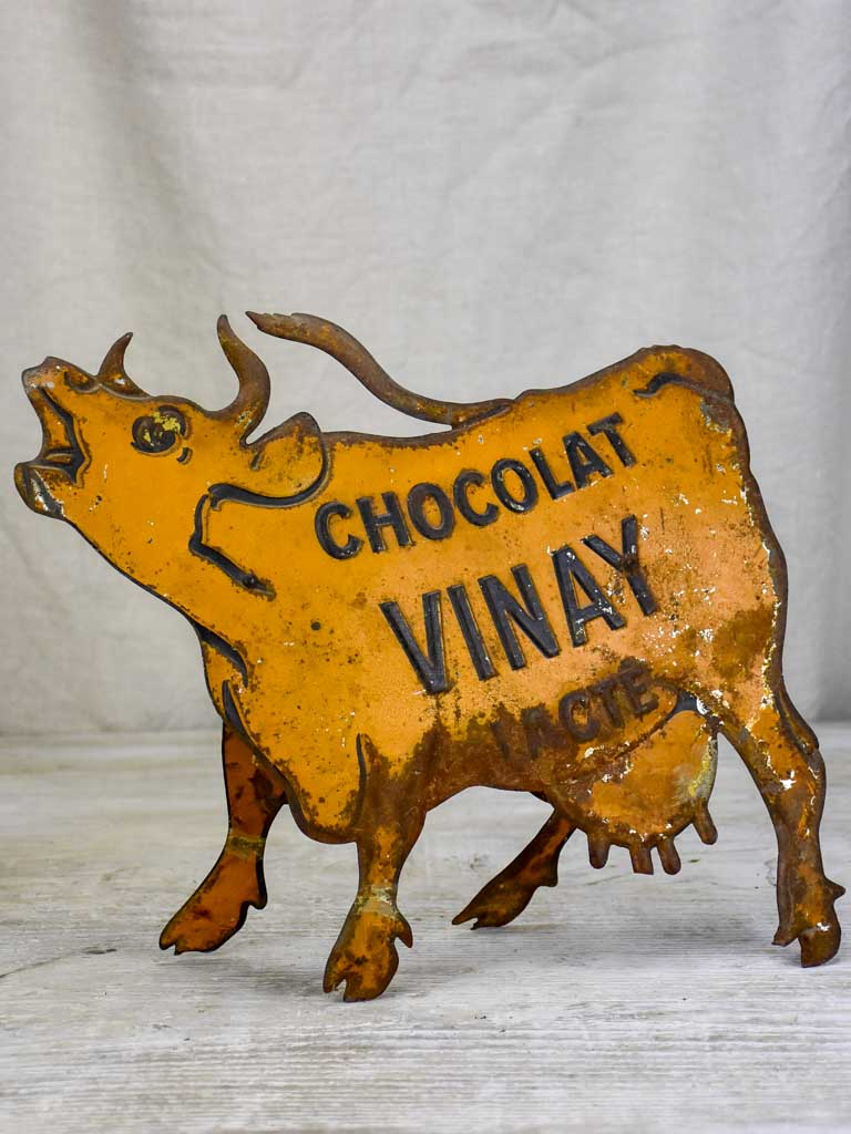Rare tole lithograph sign of a cow - Chocolat Vinay