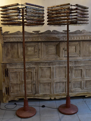 Pair of rustic vintage floor lamps