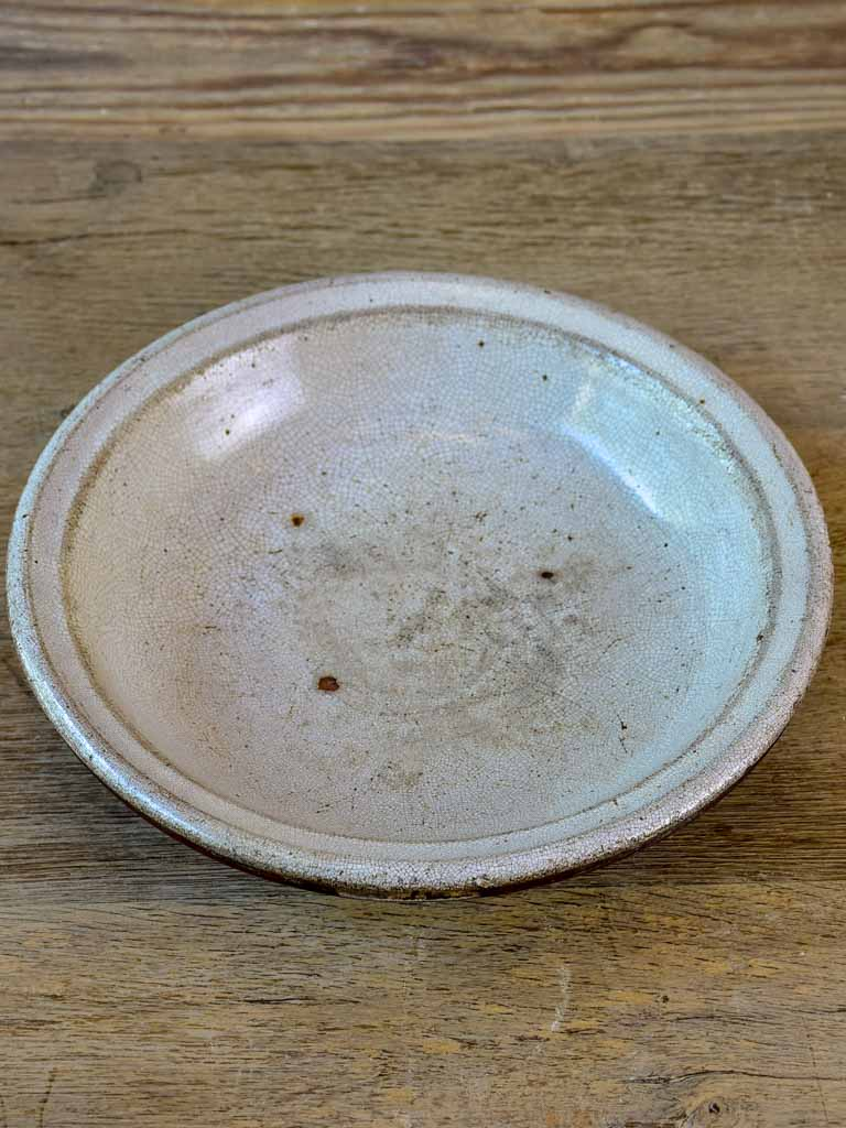 Antique French bowl with crackled white glaze