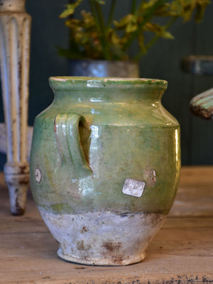 Small antique French confit pot with green glaze