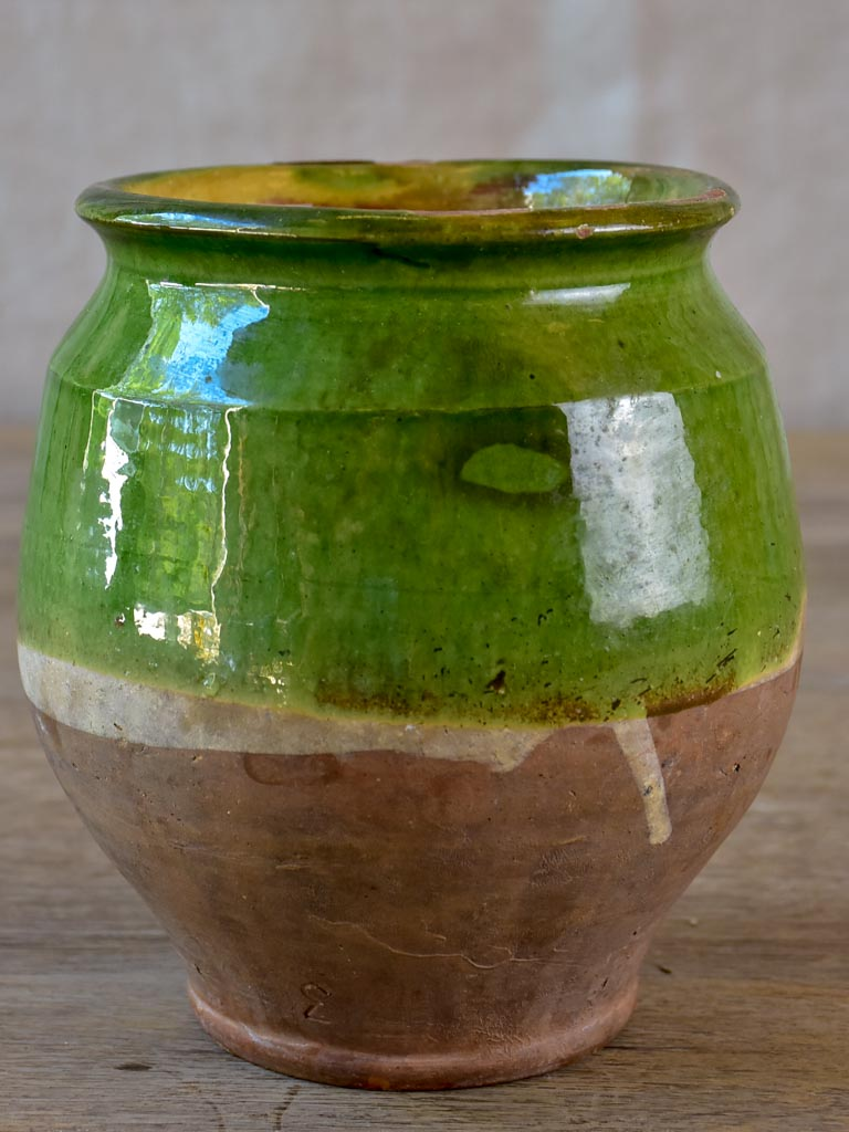 Antique French confit pot with green glaze 6¼""
