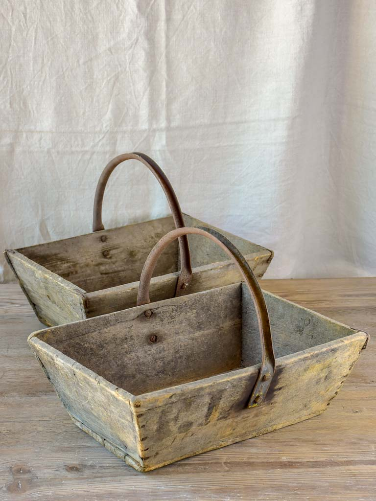 Pair of antique French wooden harvest baskets