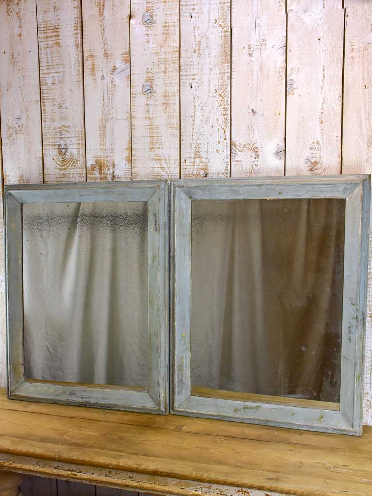 "Pair of 19th Century French mirrors with mercury glass and painted frames 28"" x 35½"""