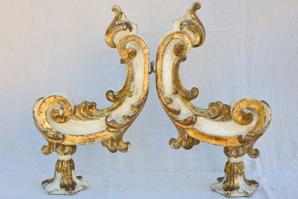 Pair of salvaged 19th century Italian gilded appliques 29½""