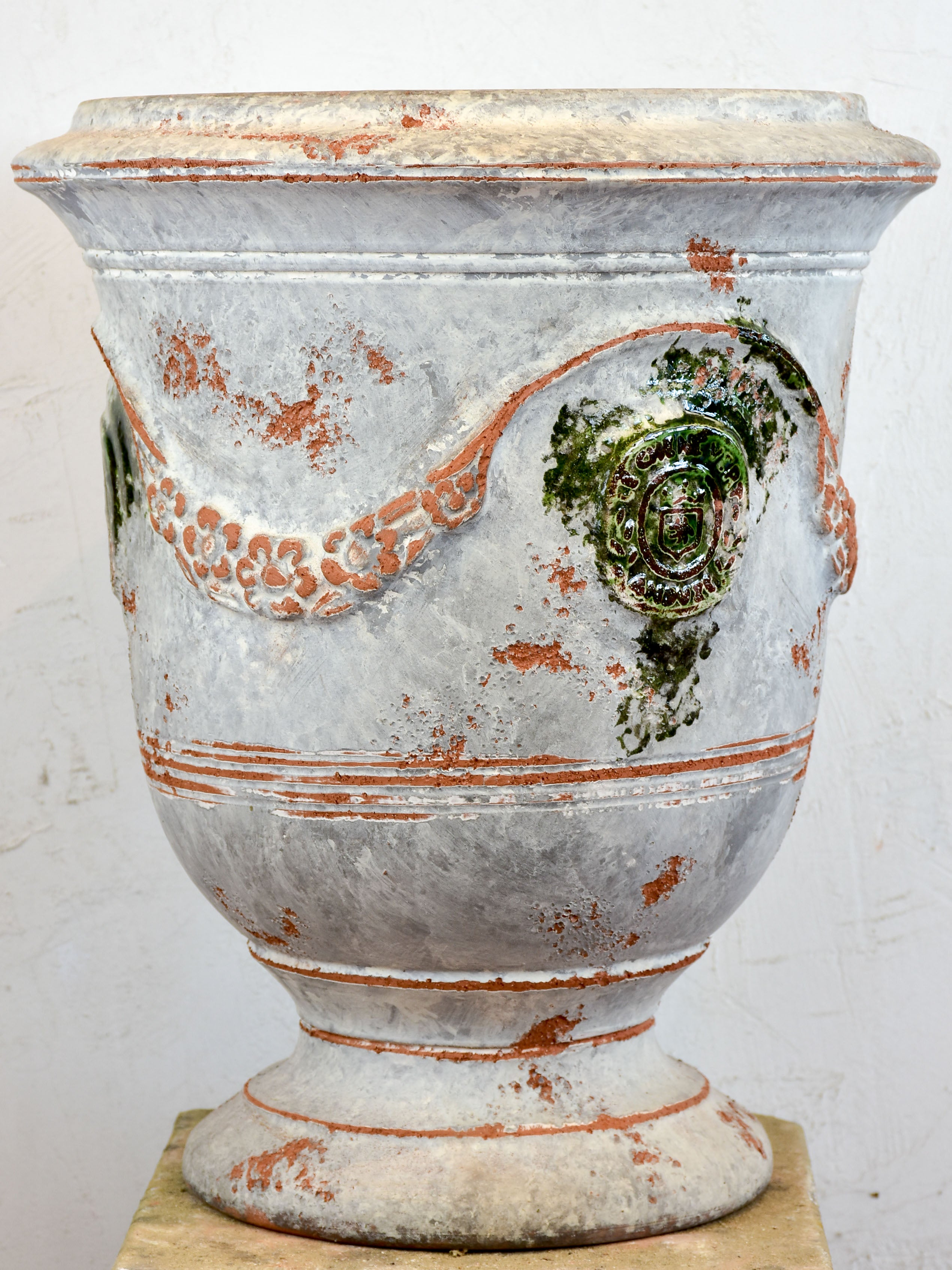 French Anduze garden urn - antica grey