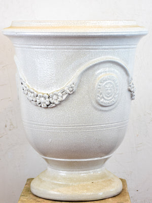 French Anduze garden urn - crackled white