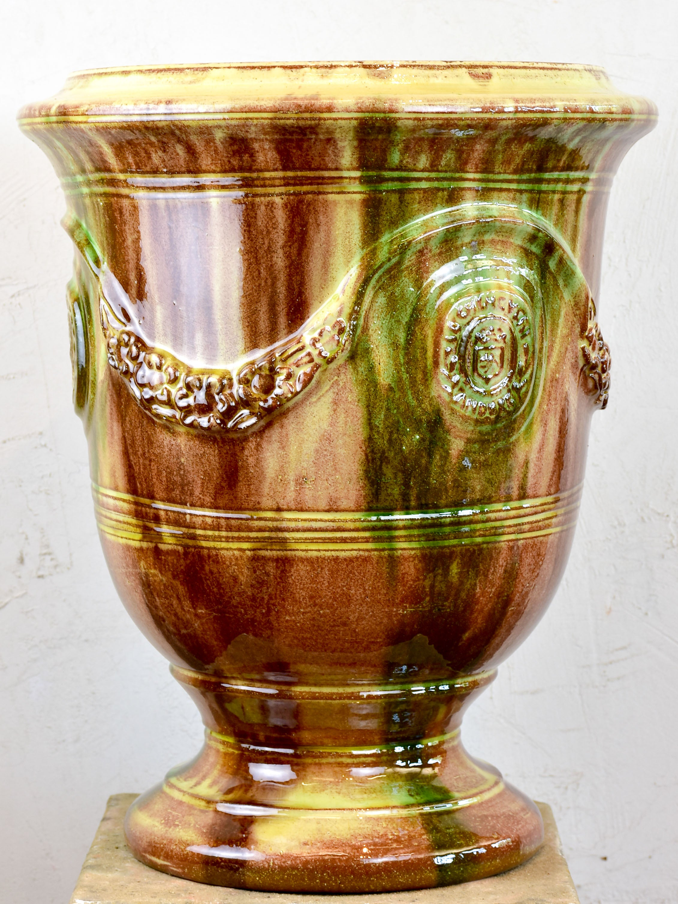 French Anduze garden urn - flamed