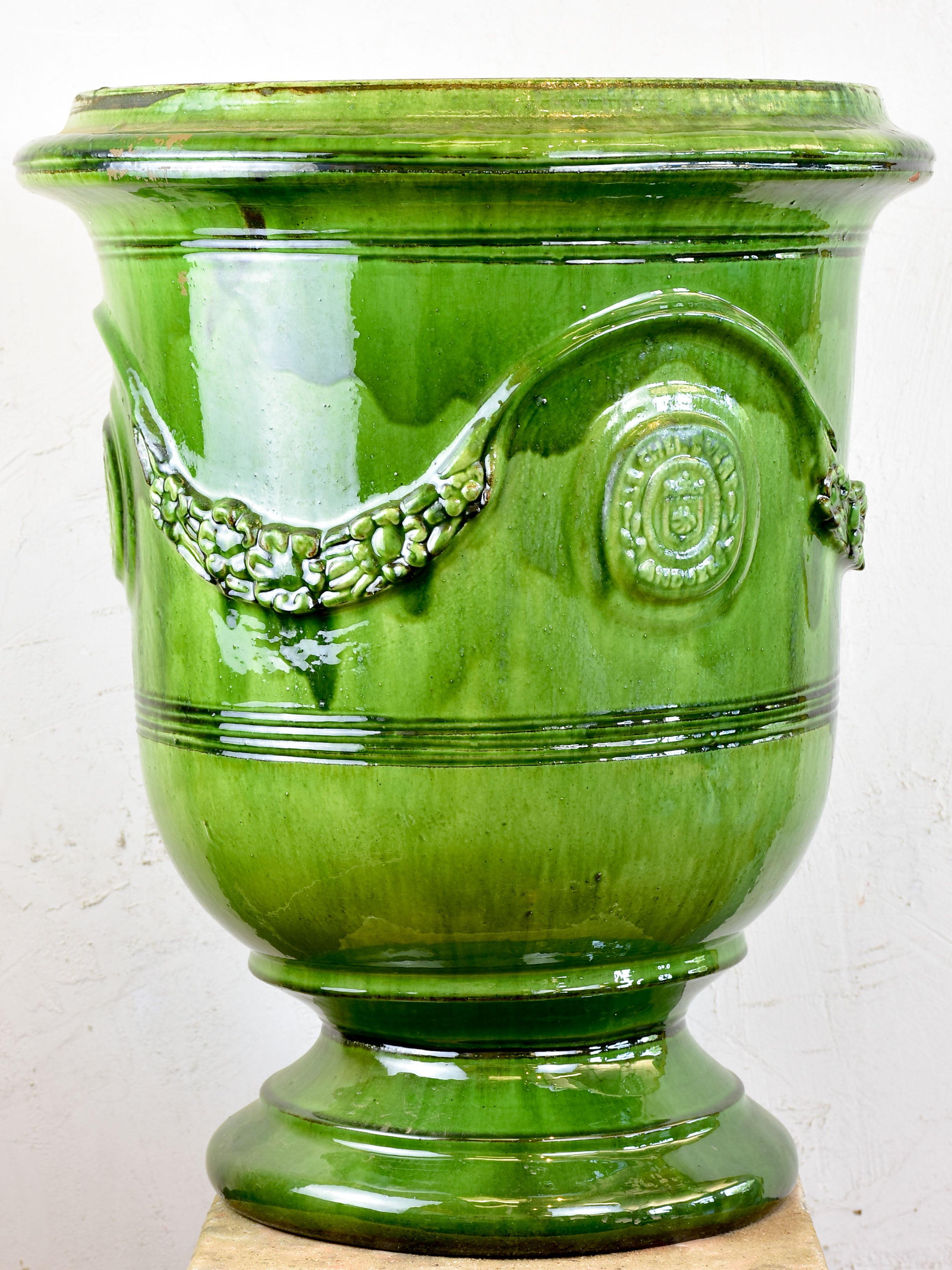 French Anduze garden urn - green
