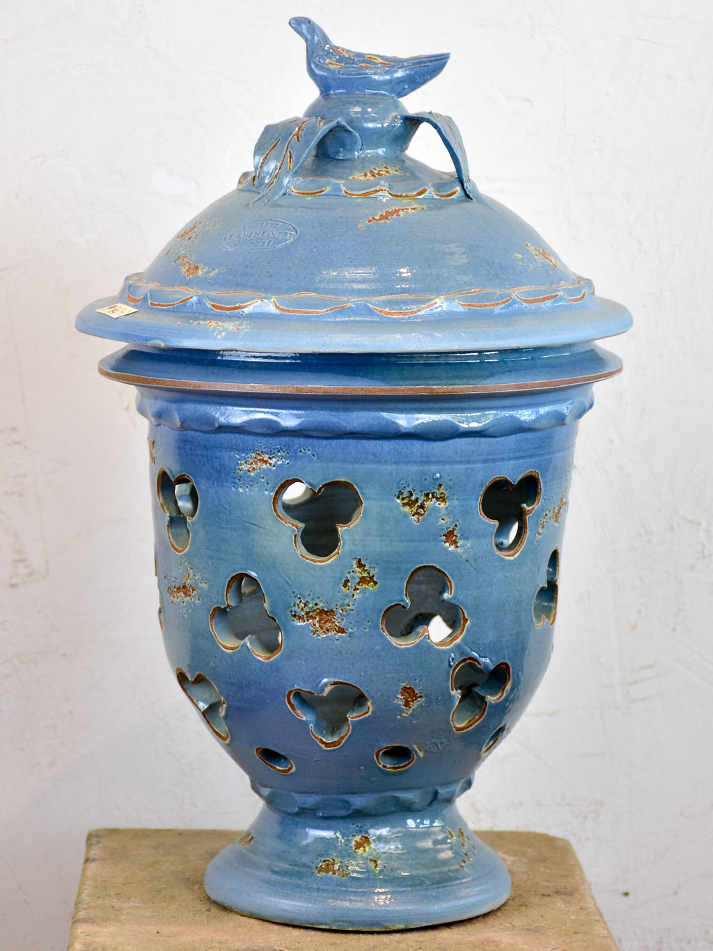 Hand made French lanterns and candle holders - blue finish