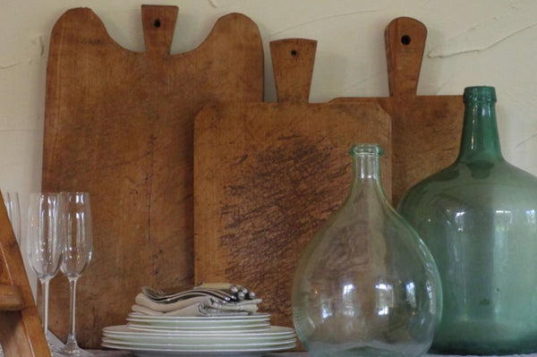 Chunky French cutting board rustic farmhouse with demijohns