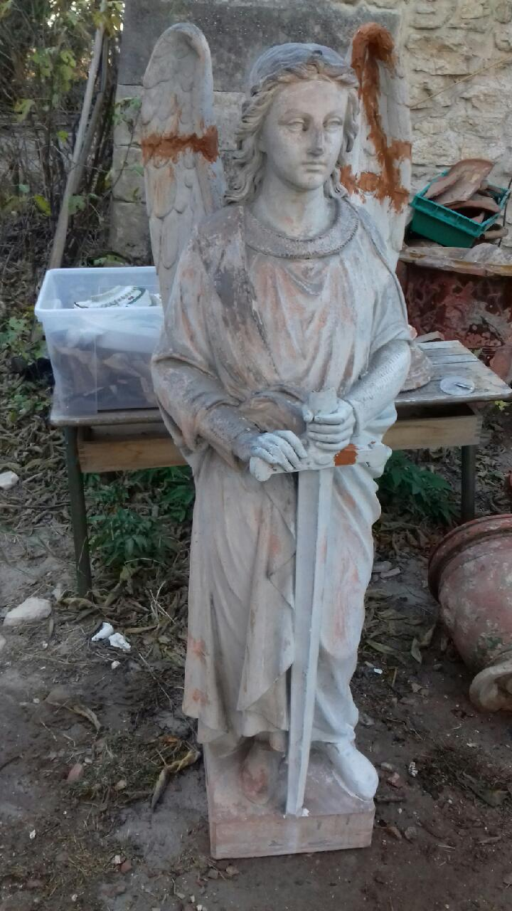 19th century terracotta archangel statue