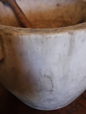 White marble mortar with pestle