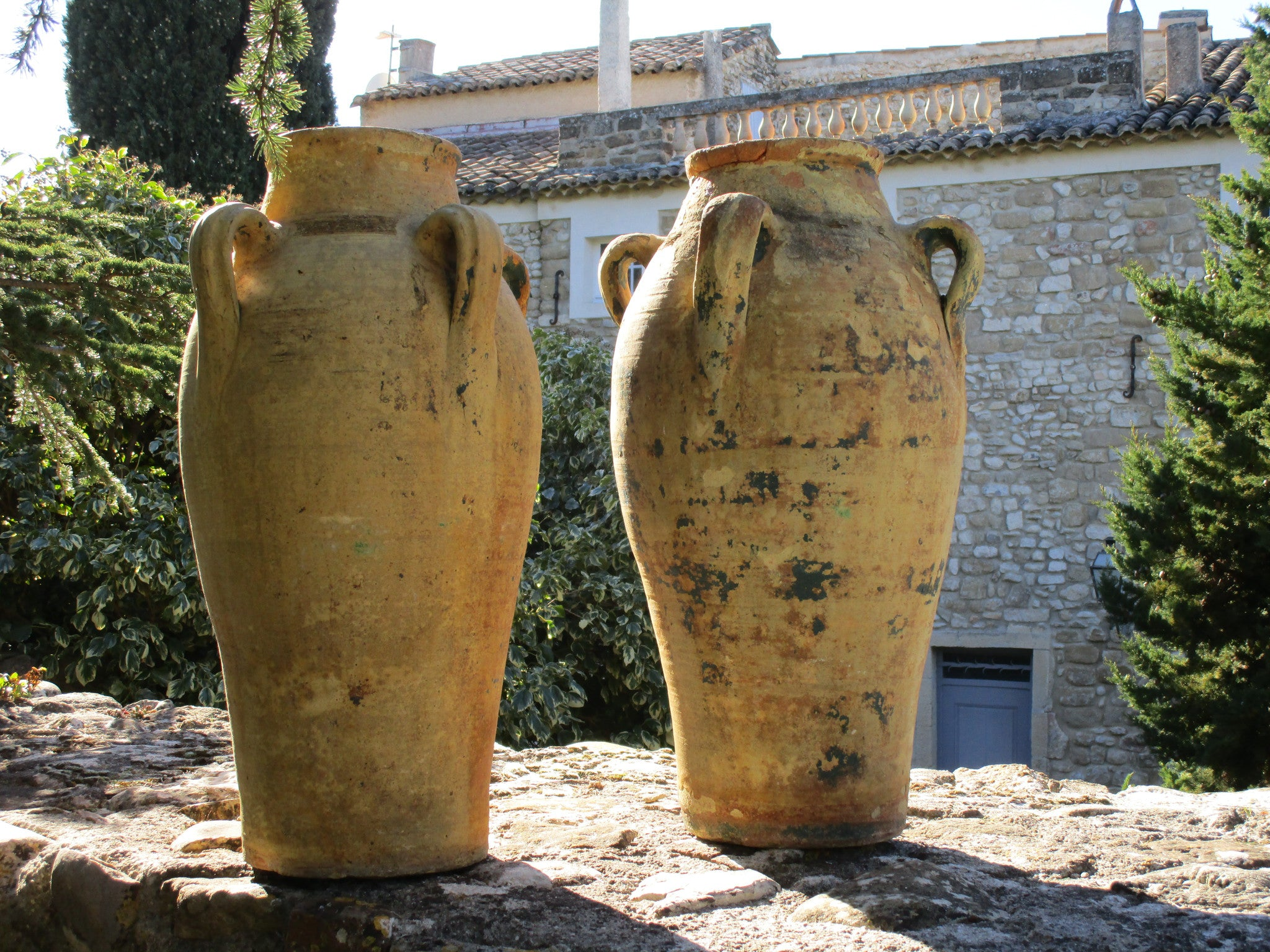 pair of large french garden pots with natural patina rustic farmhouse garden
