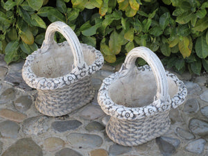 Pair of French garden basket planters