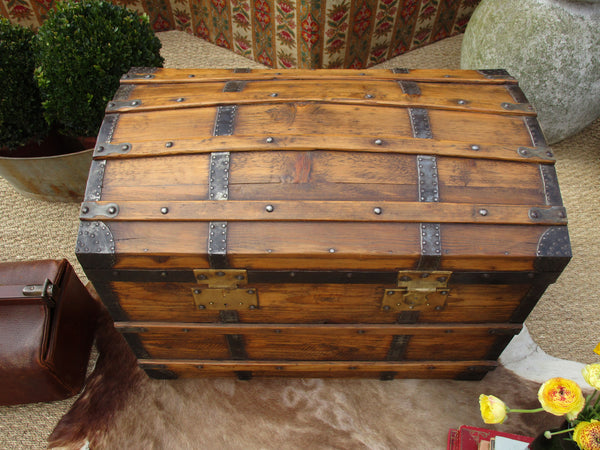19th century French pine timber chariot chest