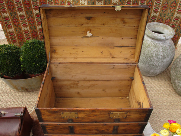 19th century French chariot chest with curved lid