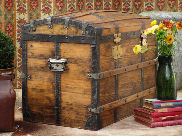 19th century antique French chariot chest