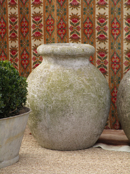 Pair of large French aged garden pots