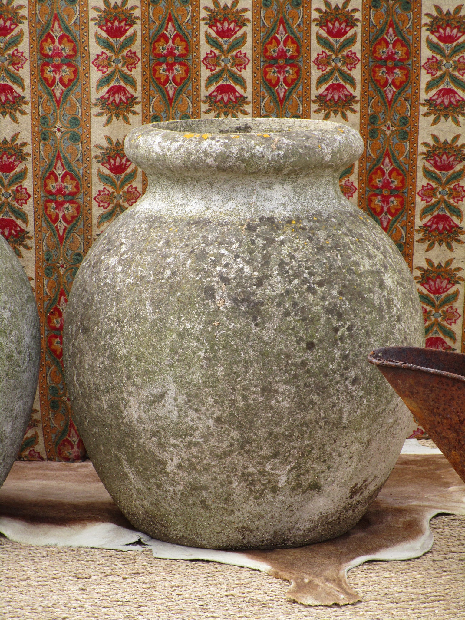 Pair of weathered large French aged garden pots