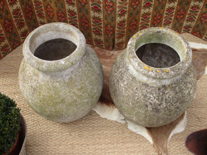 Pair of large French aged garden pots with moss