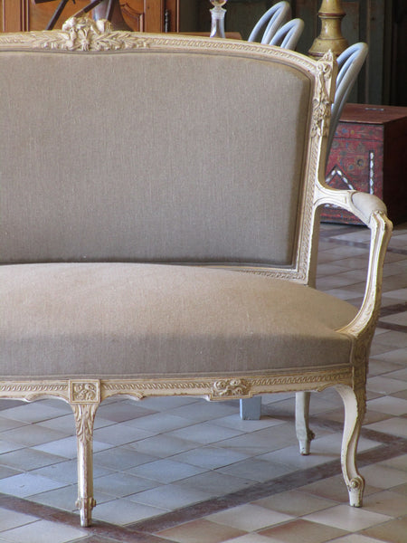 Upholstered French Louis XVI canape