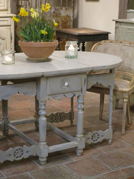 19th century folding oval kitchen table chalk paint