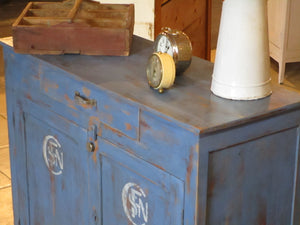 Retro buffet painted blue with SNCF logo