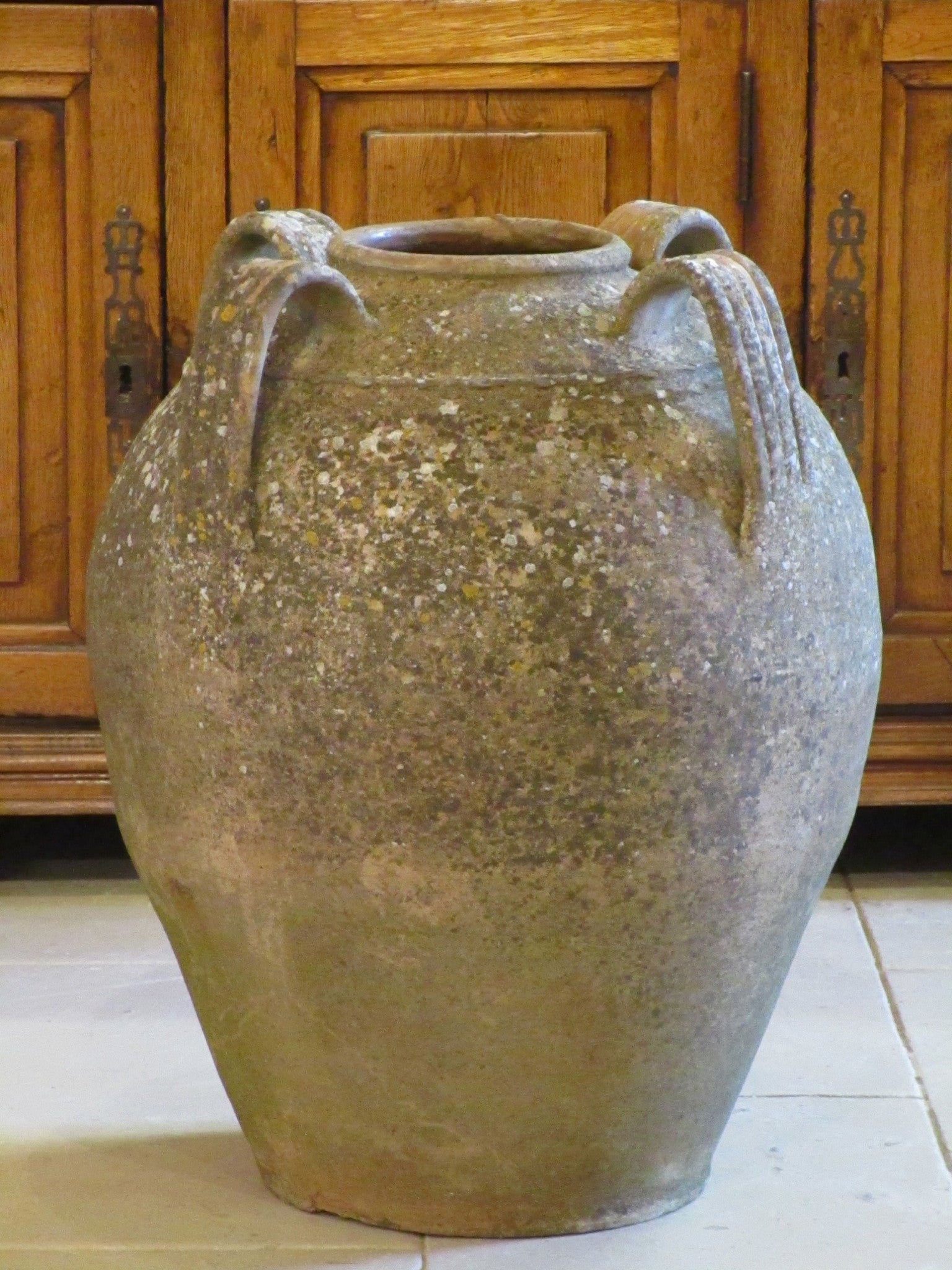 French weathered garden pot with four handles