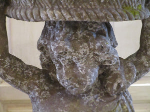 Face detail - French cherub garden statue fountain