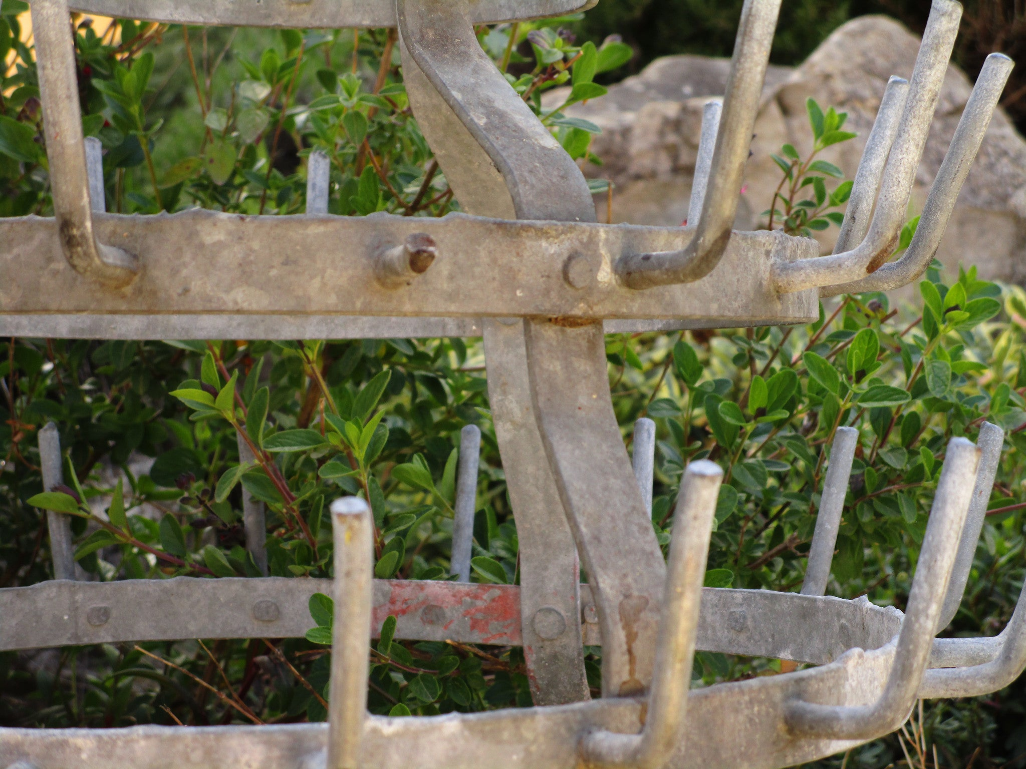 Galvanised bottle drying stand