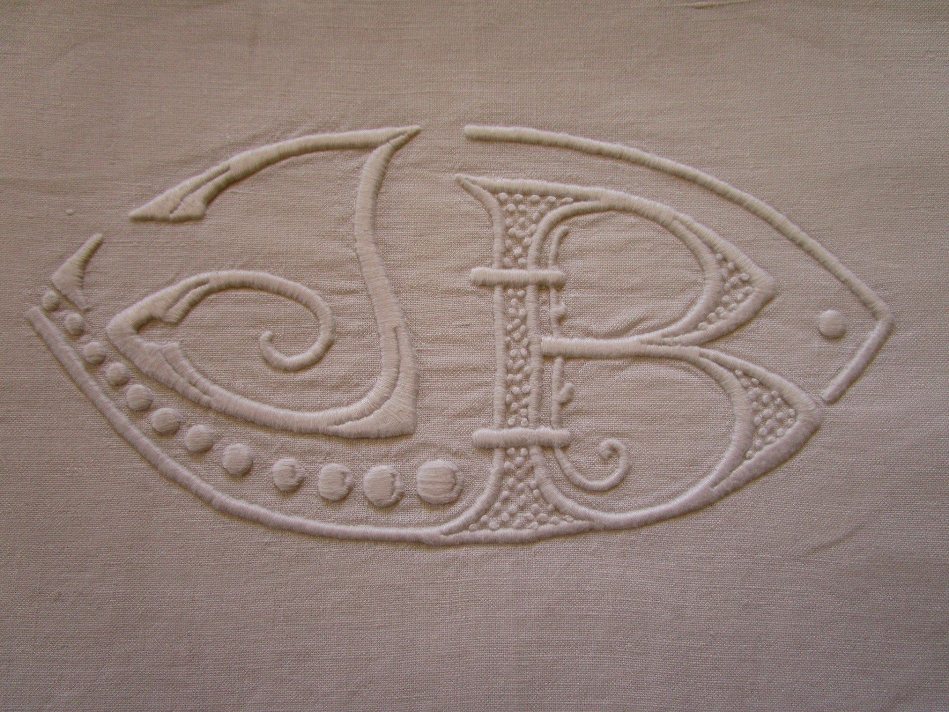 antique french linen bed sheet jb monogram detail