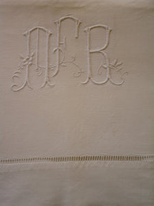 antique french linen bed sheet mfr monogram