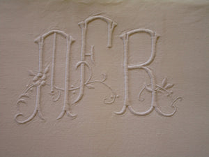 antique french linen bed sheet mfr monogram 3