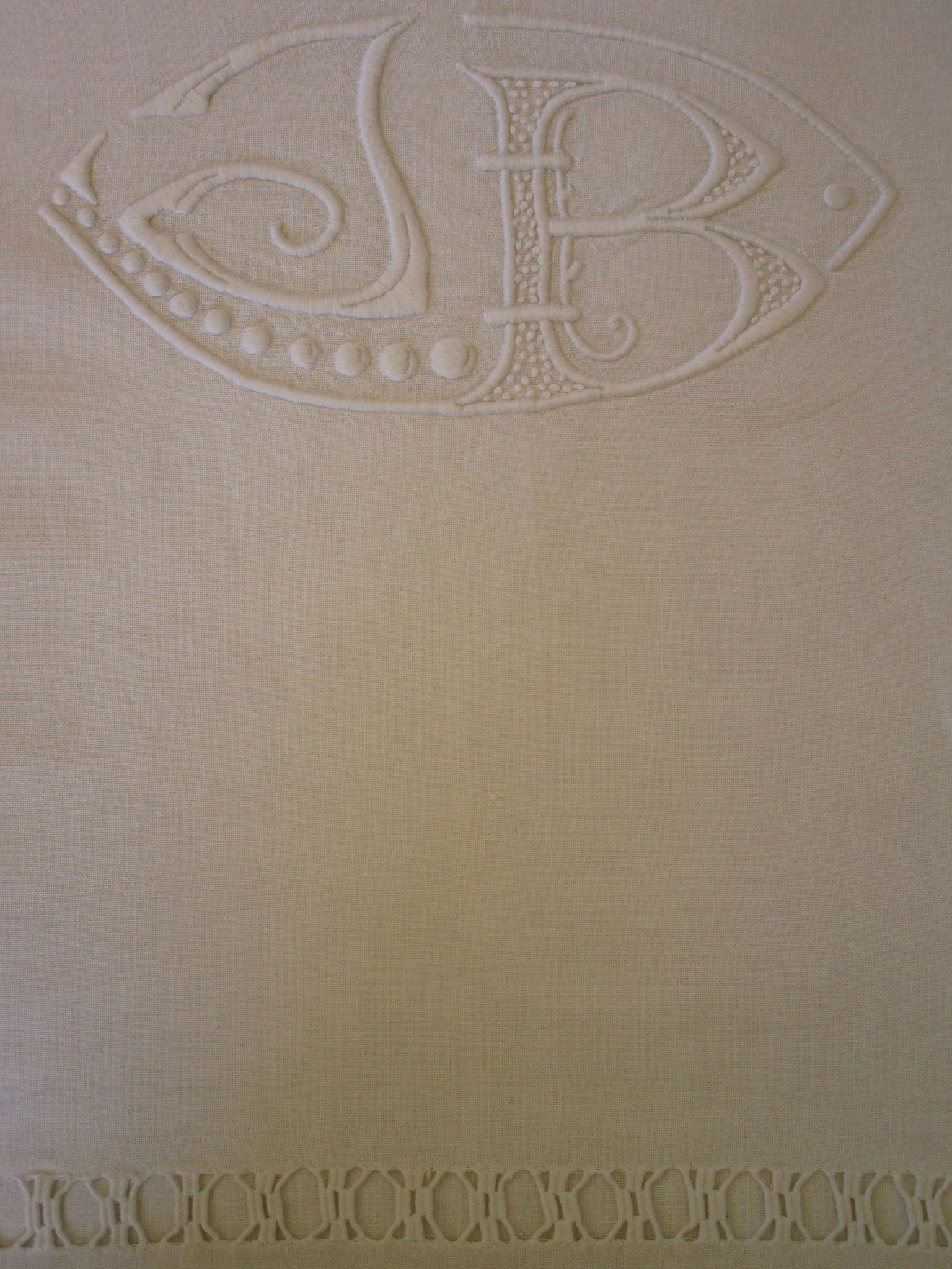 antique french linen bed sheet jb monogram