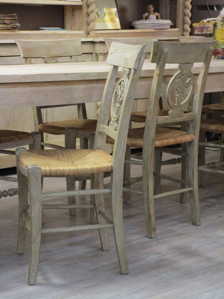 Set of eight French directoire chairs chalk paint