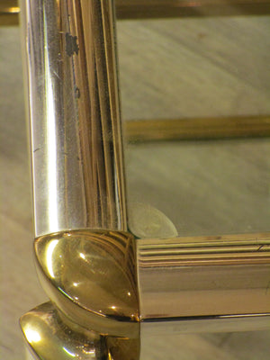 Detail - Pair of silver and gold French side tables