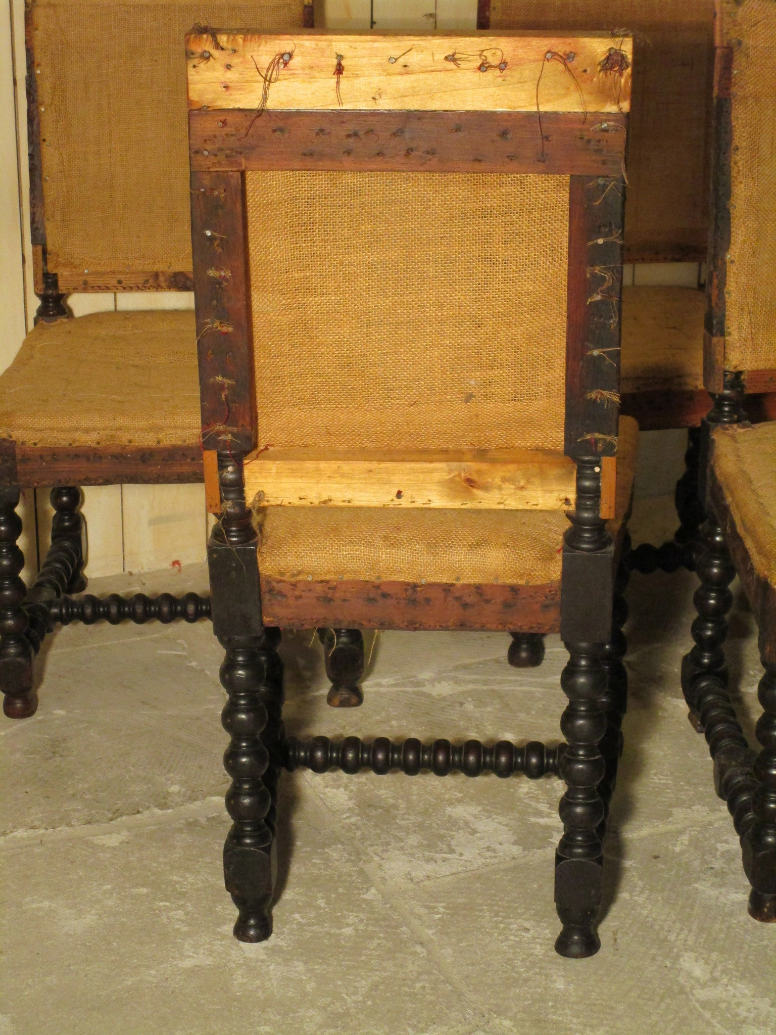 Louis XIII hessian chairs - set of four