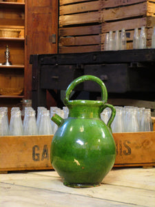 Provencal water jug with green glaze 28.5