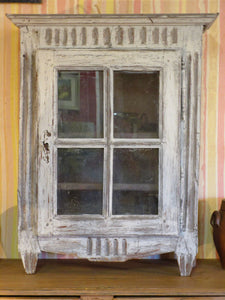 Rustic French provincial cabinet showcase with french door