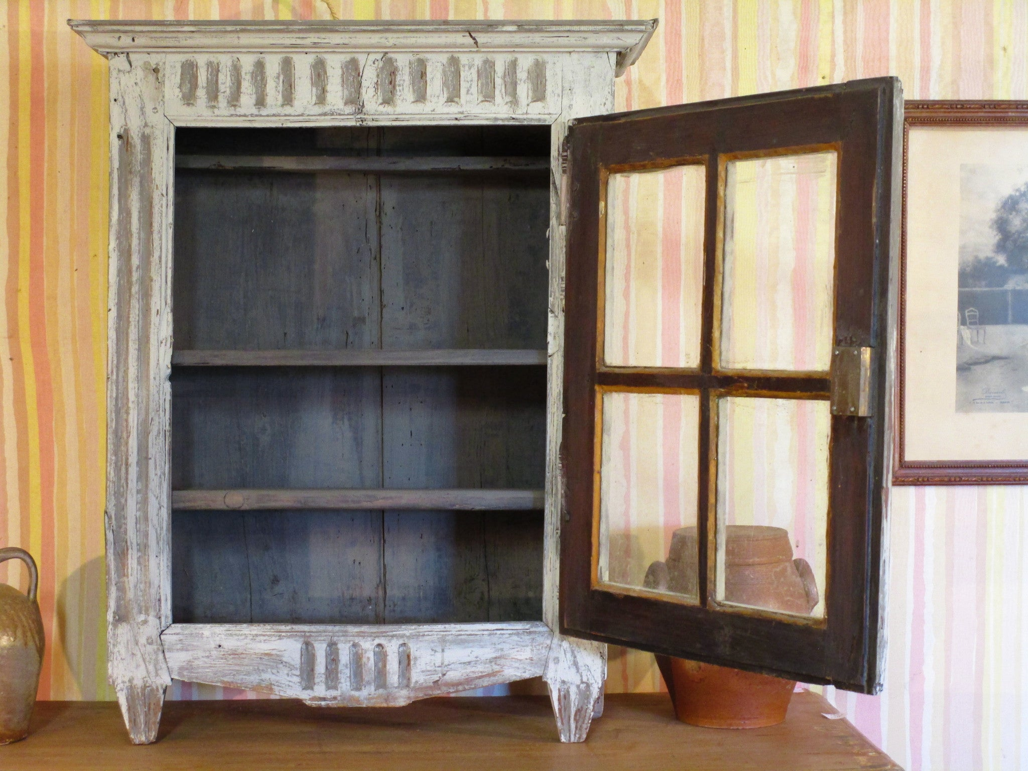 Door open Rustic French provincial cabinet showcase with french door