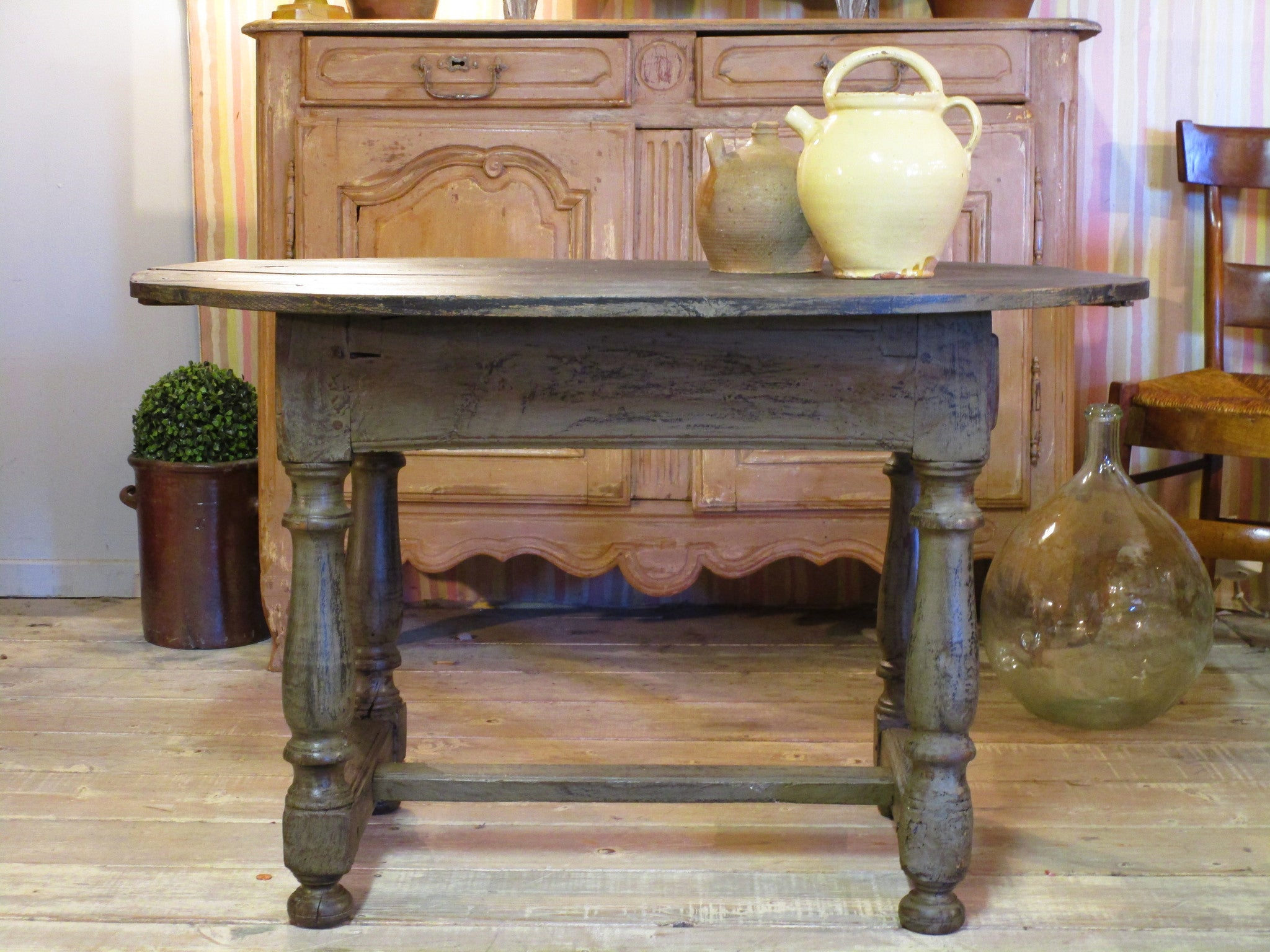 French oak oval vigneron's table