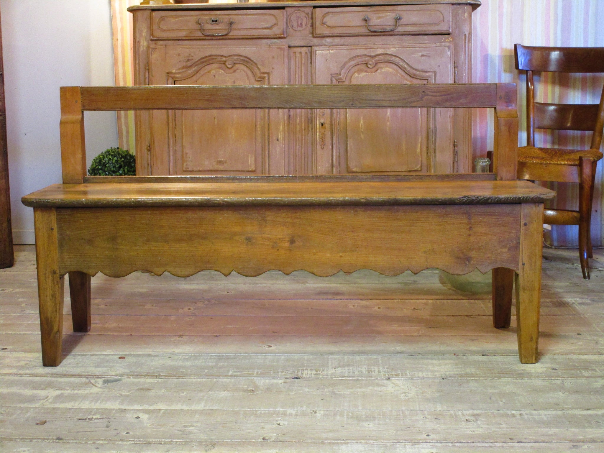 19th century french oak and cherry wood bench seat modern farmhouse
