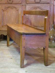 19th century french oak and cherry wood bench seat
