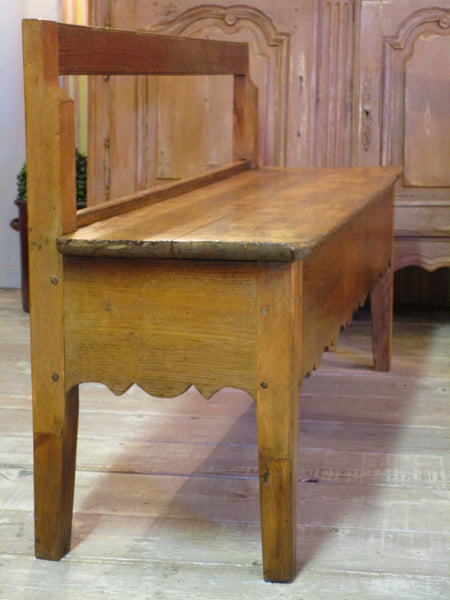 Side view 19th century french oak and cherry wood bench seat