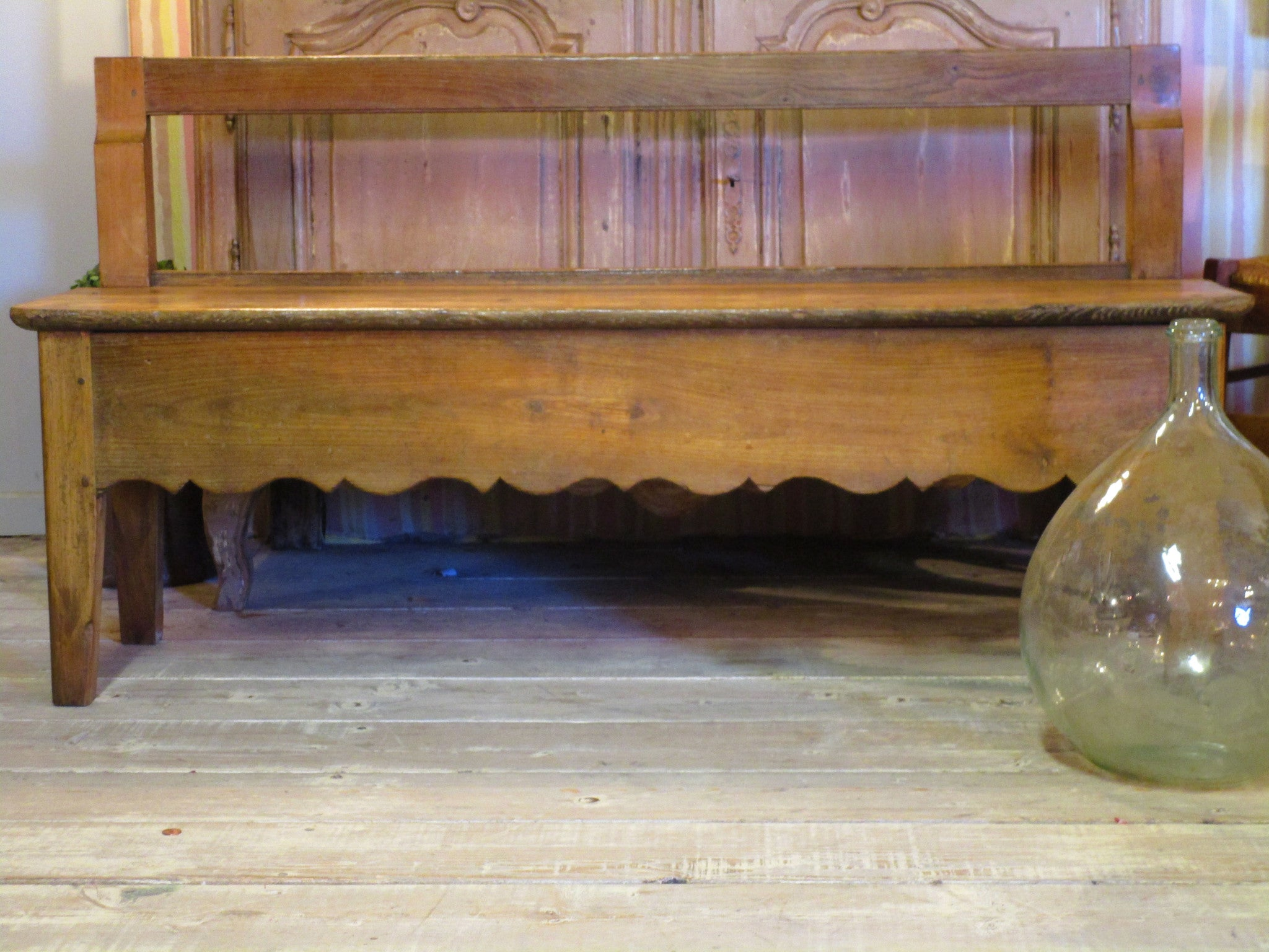19th century french oak and cherry wood bench seat farmhouse decor