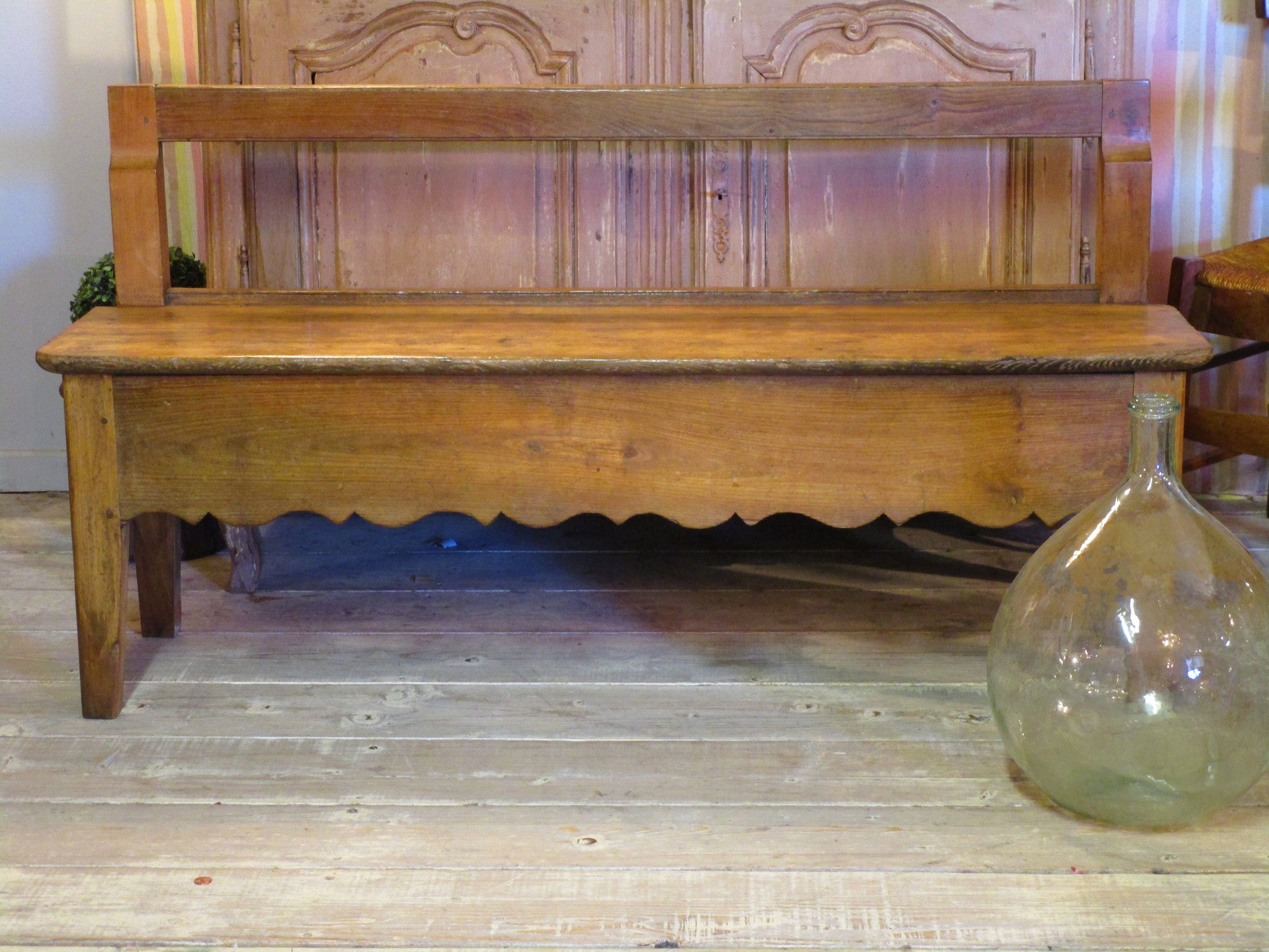 19th century french oak and cherry wood bench seat scalloped detail