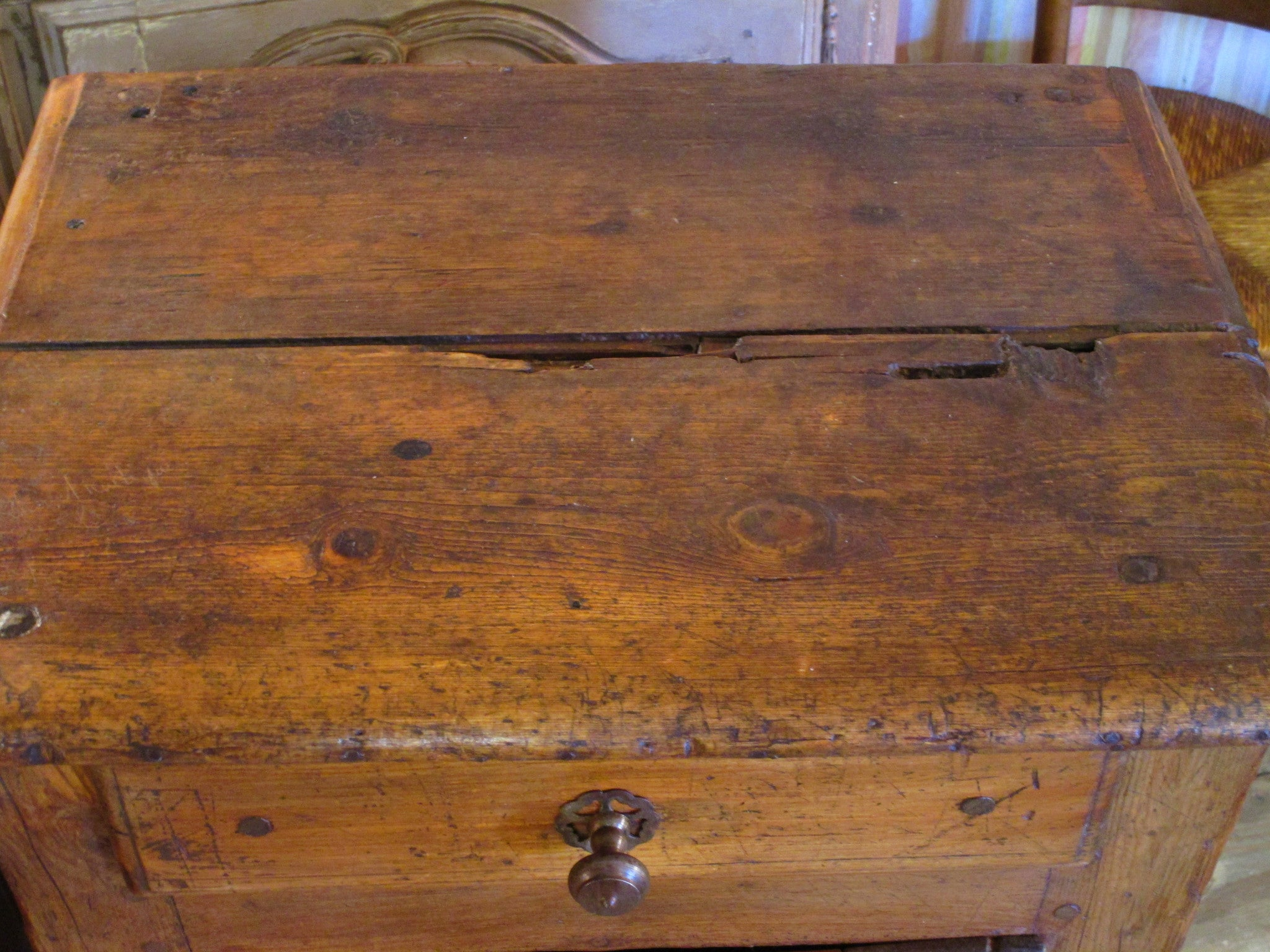 Top - 19th century rustic confituriers side table cabinet