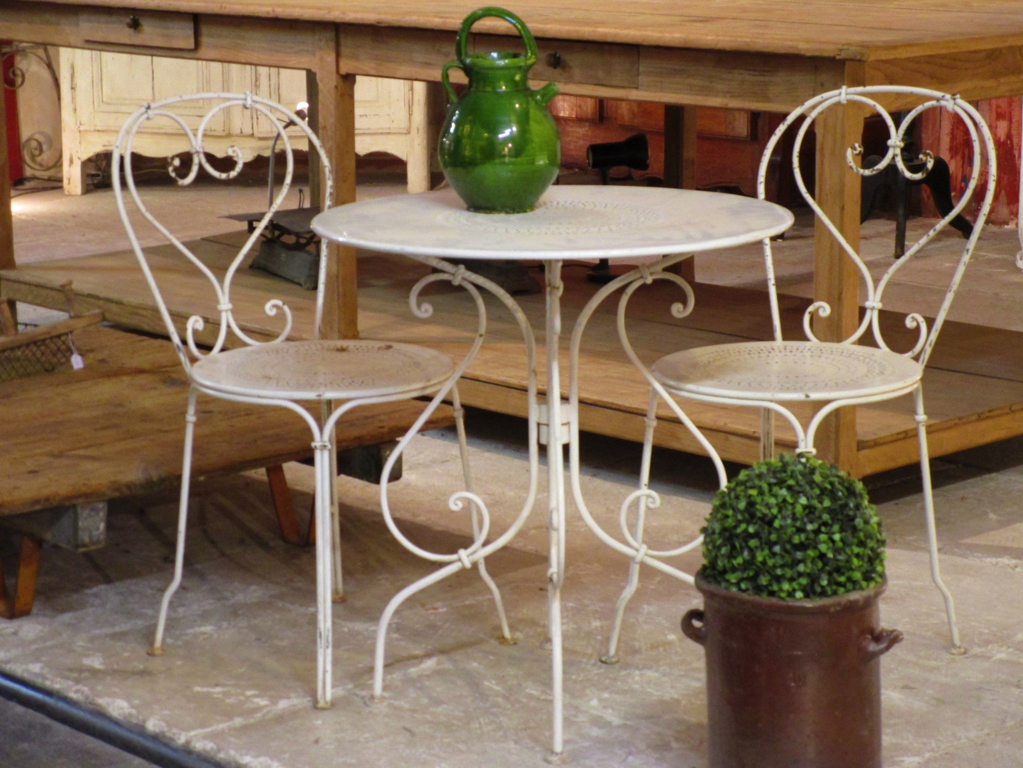 Vintage French outdoor table - white