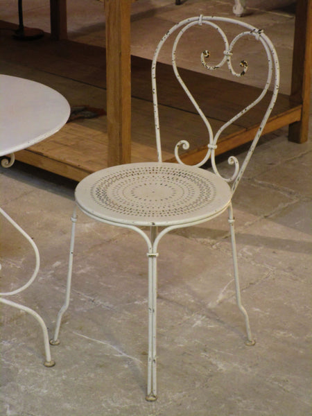 Pair of French outdoor bistro chairs - white