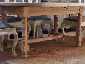 Turned legs frame detail - French oak oval dining table extendable mid century